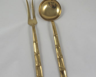 Vintage Brass Bamboo Style Serving Spoon & Fork