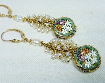 Antique Micro Mosaic with White Fresh Water Pearl Cluster Earrings, 14K Gold Filled Grand Tour Souvenir Jewelry, Italy