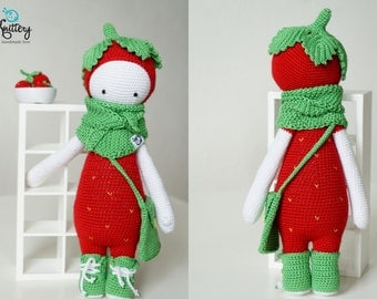 Crochet strawberry doll / Lalylala pattern Erna the Strawberry / Crochet toy / Birthday, Chirstmas present