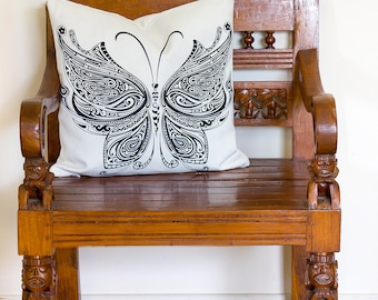 Butterfly Cushion, Butterfly Pillow, Black and White Pillow, Black and White Cushion, Butterfly Decor Cushion, Black and White | CUS068