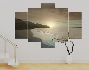 Bronzoceana Sunset 5 panel Canvas Art Contemporary (over 1 metre) wide photo Print Canvas Wall Art UNFRAMED Canvas Contemporary Modern!