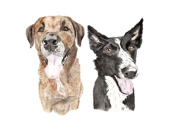 Custom DIGITAL Double Pet Portrait Illustration-custom portrait-custom made-dog portrait-cat portrait-gift-print-wall art-pet portrait-dog