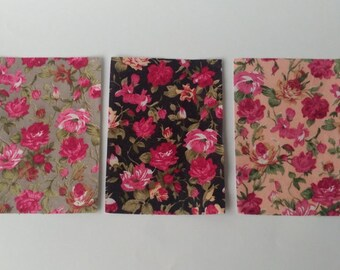 CRAFT ADHESIVE FABRIC Floral Print Roses Craft Stickers