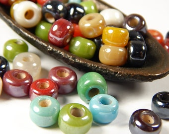 50 Pcs - 9x8mm Multicolor Luster Glass India Crow Beads - Crow Rollers - Glass Pony Beads - Jewelry Supplies