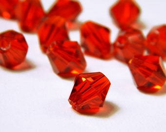 25 Pcs - 8mm Transparent Red Glass Bicone Beads - Bicone - Glass Beads - Jewelry Supplies