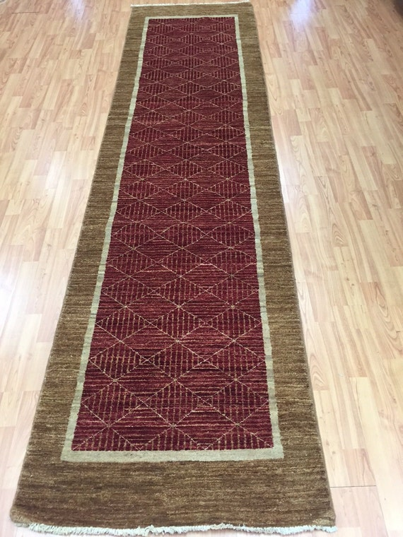"2'8"" x 8'4"" Afghan Gabbeh Floor Runner Oriental Rug - Hand Made - Vegetable Dye"
