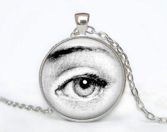 Lina cavalieri necklace BIG EYE piero fornasetti pendant, handmade glass cameo silver pendant retro italian illustration piero Fornasetti