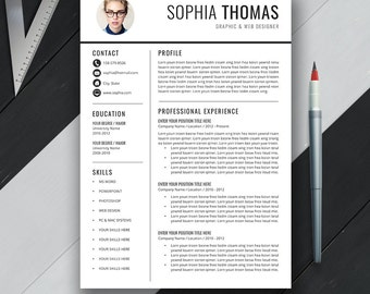 Resume Template, CV Template, Cover Letter, US Letter, A4, Word, Professional, Modern, Simple Resume Design | Instant Download | 'SOPHIA'