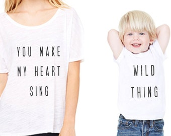 Mom and Baby Graphic T-Shirts - Wild Thing/You Make My Heart Sing - Set of 2 Shirts