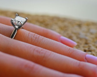 3.0 CT Princess Cut Engagement Ring 14k or 18k White Gold Bridal Solitaire Ring