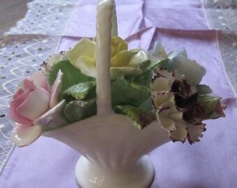Vintage Royal Doulton Rose Carnation Bone China Flower Basket