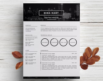 Creative Resume Template + Cover Letter Template For Word | DIY Printable 3  Pack |   Creative Director Resumes