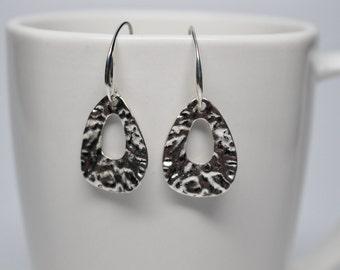 Hammered silver drop earrings, tear drop earrings, silver hook wires