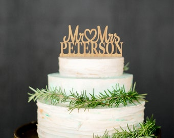 Last Name Topper Personalized Wood Cake Topper Custom Wedding Topper Mr and Mrs Wedding Topper Gold cake topper Silver cake topper