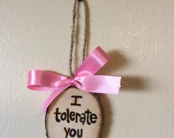 Funny Valentines Ornament, I Tolerate You, Valentines Gift Tag, Gift Idea