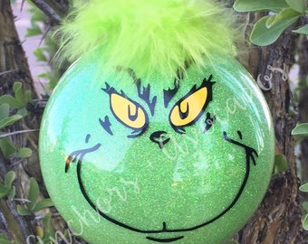 The Grinch Ornament, Grinch, How the Grinch Stole Christmas, Christmas Ornaments, Mr. Grinch, Glitter Ornaments