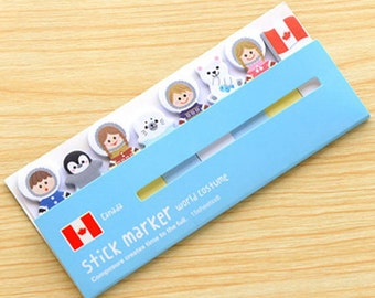 Canada World Costume Sticky Notes - Cute Sticky Notes / Cute Stationery / Kawaii Stationary / Kawaii Sticky Notes / Stick & Memo / Tabs