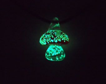 Glass Glow in the Dark Mushroom Necklace (Red)