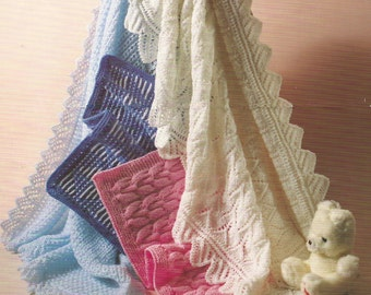 Baby PDF Knitting Patterns Shawls and Pram covers.DK and 4ply  Four for the price of one.