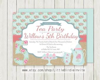Tea Party Birthday Invitation, Printable Birthday Invitation, Custom Birthday Invitation, DIY Birthday Invitation, Double Sided Invitation