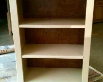 White Custom Bookshelf, Wooden White Bookshelf, Contemporary BookShelf