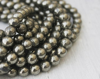 8mm round Silver Pyrite Beads Full Strand Rustic Beads Fools Gold