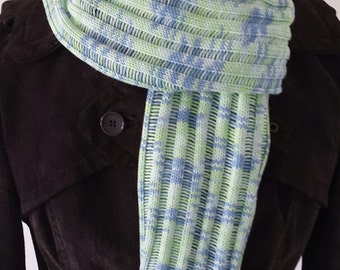 Knitted scarf in jersey stitch, Soft cotton scarf, Summer scarf, Women's Scarf