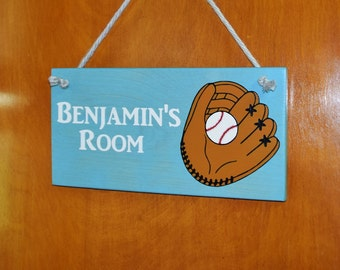 Baseball Glove, Mitt Personalized Kids Room Sign, Baby's Room, Nursery. Baby Shower, Birthday Gift. 6x12 Hand Painted - Any Name - Options!!