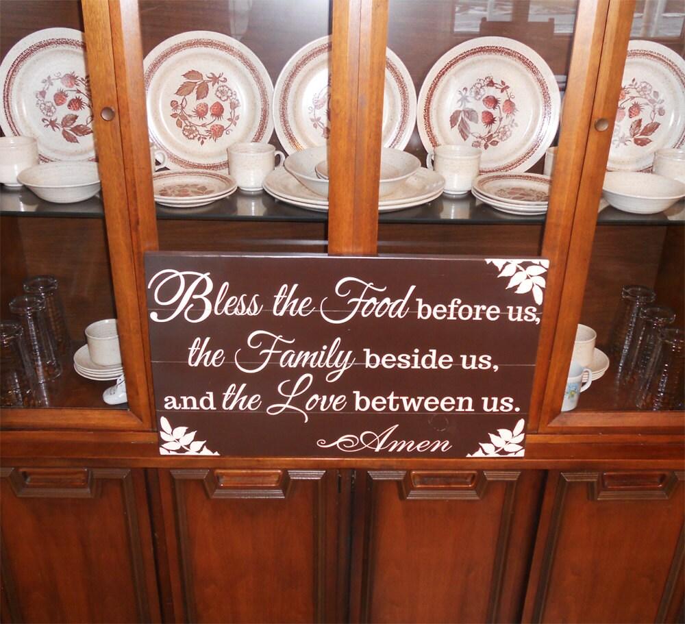 Primitive Wooden Kitchen Signs: Large Kitchen Sign Bless The Food Wood Sign Primitive