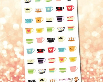 Coffee Mugs & Tea Cups Planner Stickers