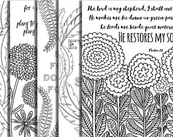 5 hand drawn bible verse coloring pages inspirational quotes completely original designs instant downloads diy adult