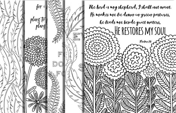 5 hand drawn bible verse coloring pages inspirational quotes completely original designs instant downloads diy adult coloring party