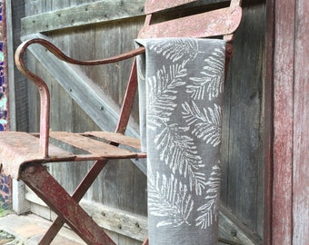 Bracken Linen Tea Towel Screen Printed, Handmade in Australia- sustainable fabrics