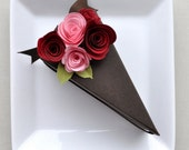Chocolate paper cake favor boxes - wedding, bridal shower, birthday, baby shower, pink and red roses