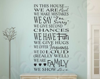 Family In This House Love Fun Hugs Vinyl Wall Decal Quote