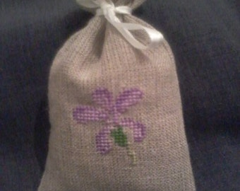 Cross Stitch sachet bag filled with Lavender