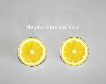 Lemon, citrom, Lime Stud Earrings silver colored, fruit, fruits