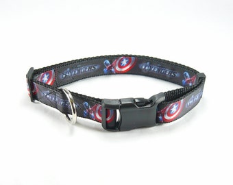 "Captain America Dog Collar (1"" width) - Large - Extra large"
