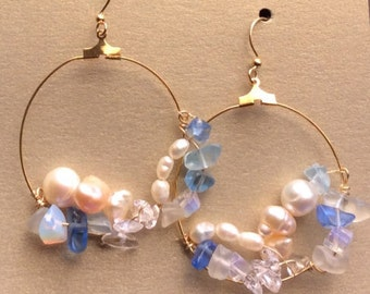 Earrings, Czech Glass Earrings, Hoop Earrings, Pearl Earrings, Crystal Earrings