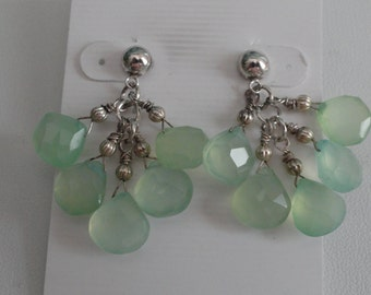 Light green Chalcedony Earrings  -  #305