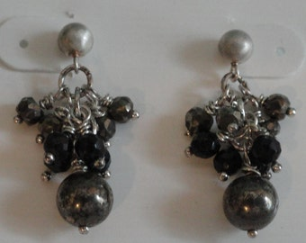 Pyrite and Black Onyx Earrings  -  #391