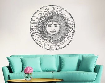 Sun Moon Wall Decal Vinyl Sticker Decals We Live By The Sun We Feel By The Moon Quote Crescent Stars Night Symbol Sunshine Bedroom Art ZX153