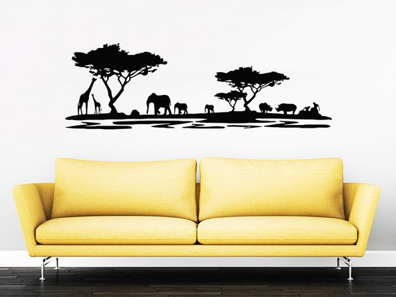Safari Wall Decal Vinyl Stickers Decals Home Decor Animal Wall