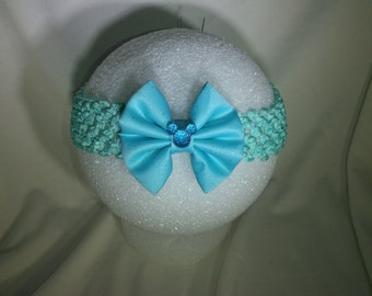 Mickey Mouse Disney inspired new born hair bow/teal