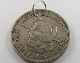 New Zealand One Schilling from 1965 Coin Necklace or Pendant