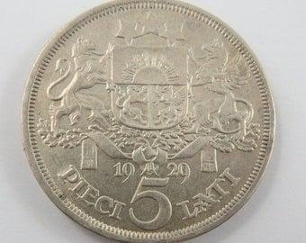 Latvia 5 Lati from 1929. KM#9