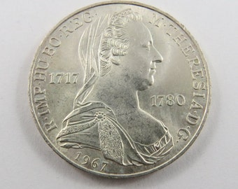 Austria 1967 Silver 25 Schilling Coin.Subject-250th Anniversary-Birth of Maria Theresa, Empress