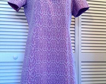 Vintage Mod Purple & White Textured Swirl Pattern Dress