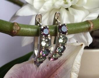Mystic Topaz Earrings, Vintage Topaz Earrings, Genuine Topaz Earrings, Topaz Studs, Silver Studs, Shiny Earrings, Real Silver Studs