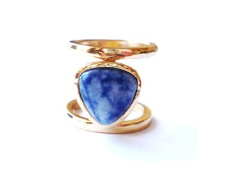 Blue Triangle Stone Ring